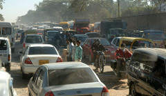 Traffic on Old Madras Road in Bangalore