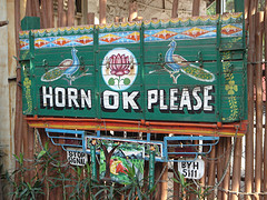 Horn OK sign from the back of a truck